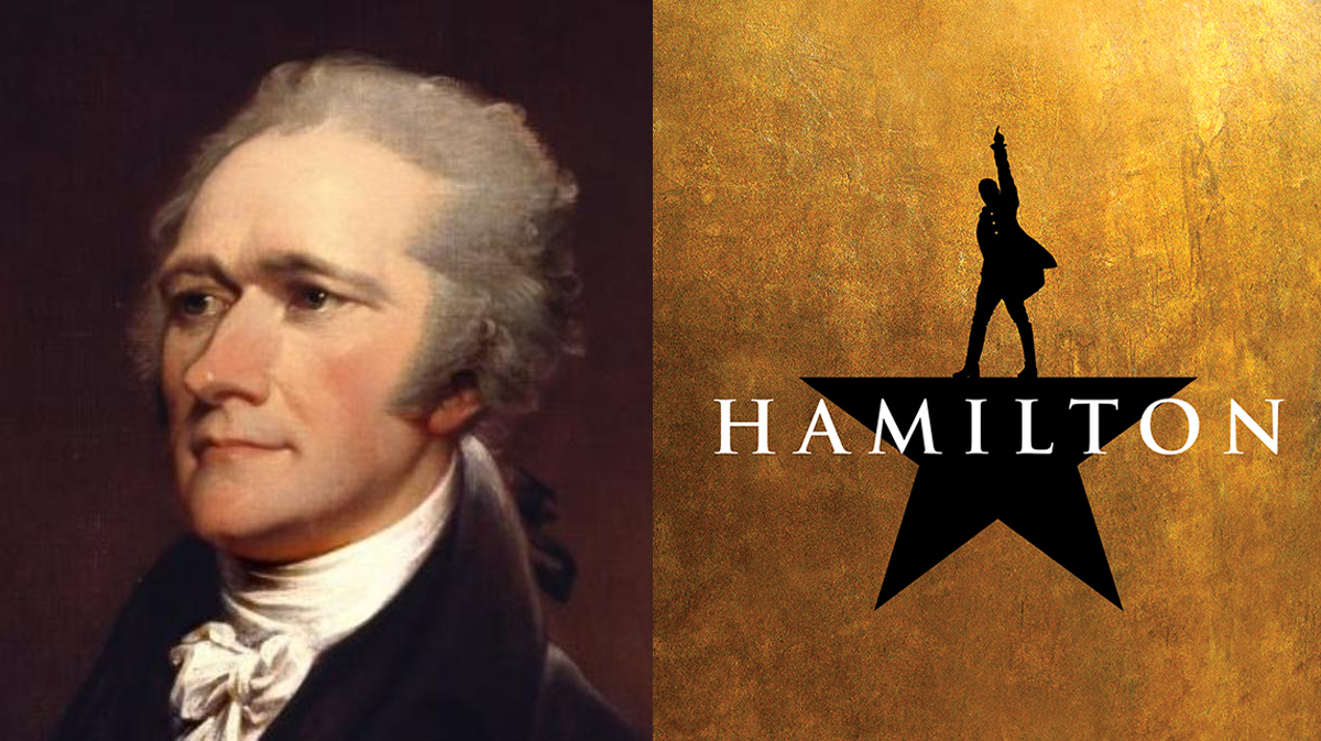 Photo of Alexander Hamilton and Broadway Play Hamilton Banner